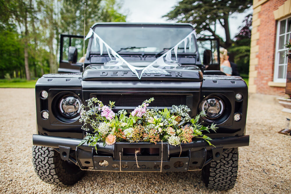 Land rover defender at wedding