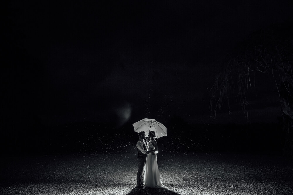 wedding couple with umbrella at night