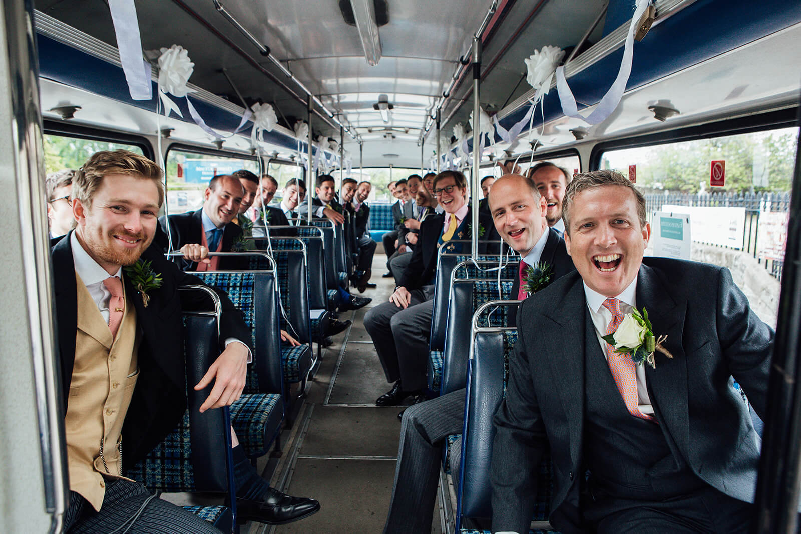 groomsmen on a bus