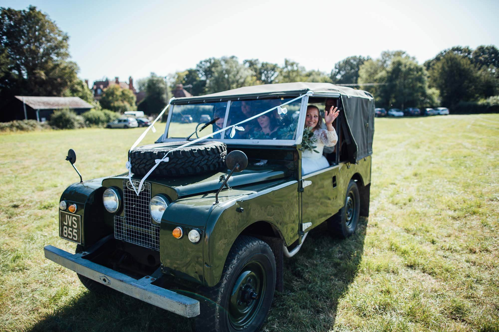 bride in land rover