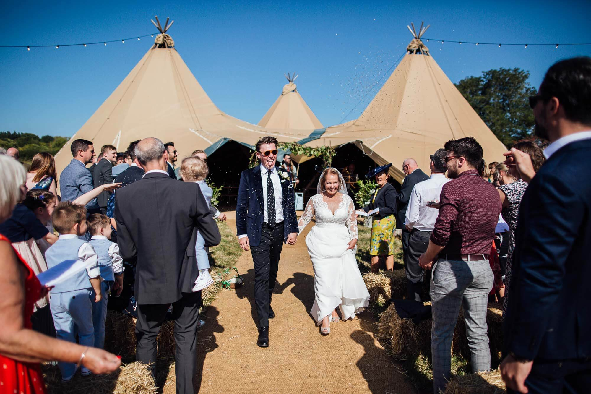 bride & groom tipi wedding