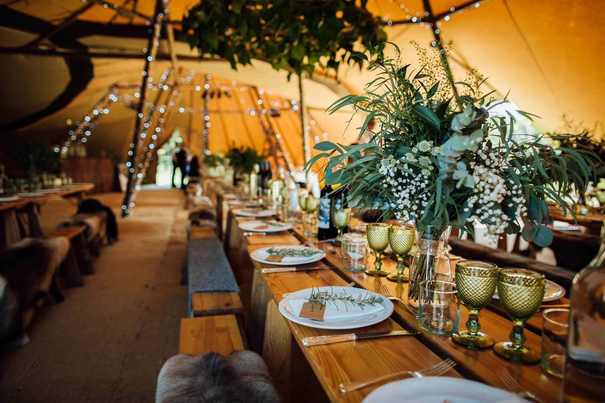 tipi wedding details